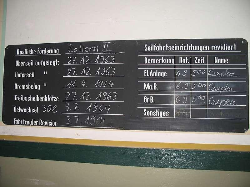 Wandtafel in der Zeche Zollern, Schacht II/IV; Foto: 01.09.2006, Dortmund