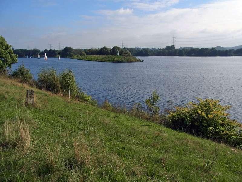 Die breite Mündung des Ölbachs in den Kemnader See; Foto: 22.09.2013, Bochum-Querenburg