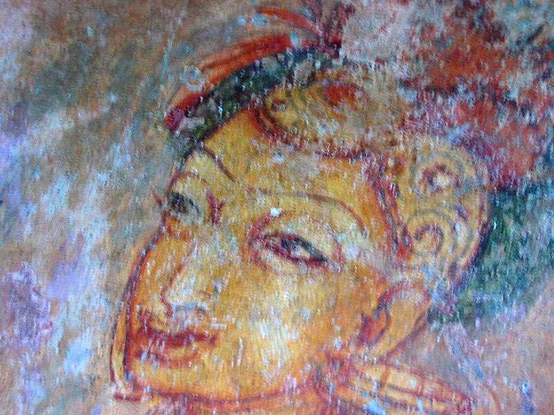 Dieses Fresco befand sich damals in einem eigentlich unzugänglichen Bereich, den ich aber ausnahmsweise betreten durfte; Foto: 10.11.2006, Sigiriya
