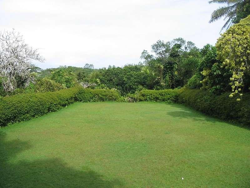 Auch offene Rasenflächen gibt es im Brief Garden; Foto: November 2006, Kalawila