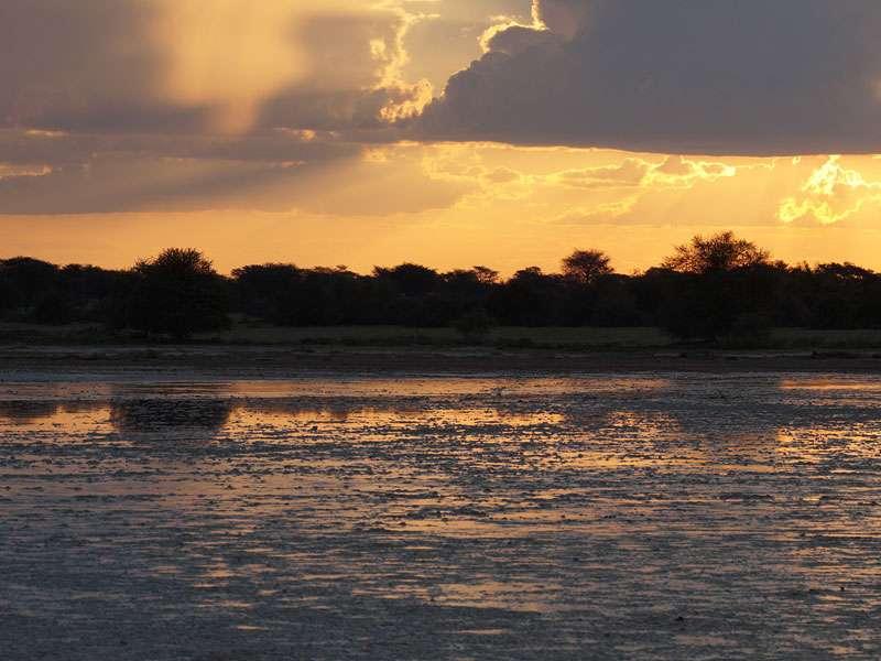 Abenddämmerung an einer mit Wasser bedeckten Salzpfanne; Foto: 18.03.2017, Kuzikus Wildlife Reserve