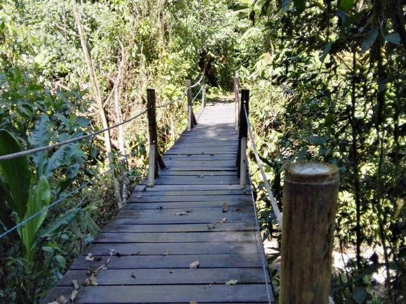 Der Weg zum Aussichtspunkt führt stellenweise über Holzbrücken; Foto: 09.12.2017, Nähe San-Rafael-Wasserfall