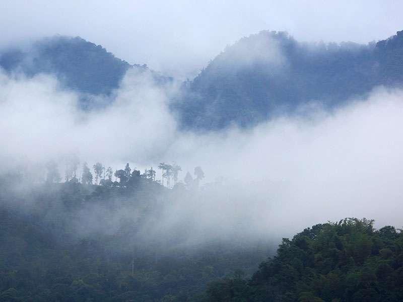 Rund um Mindo hängen die Wolken oft tief in den Bergen; Foto: 22.12.2017, Mindo