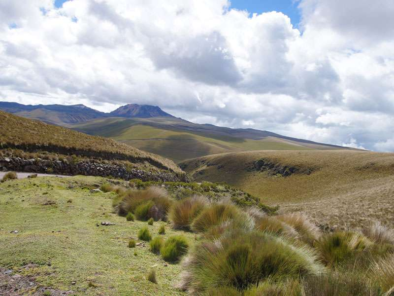 Hügelige Landschaft in der Nähe des Antisana; Foto: 24.12.2017, Reserva Ecológica Antisana