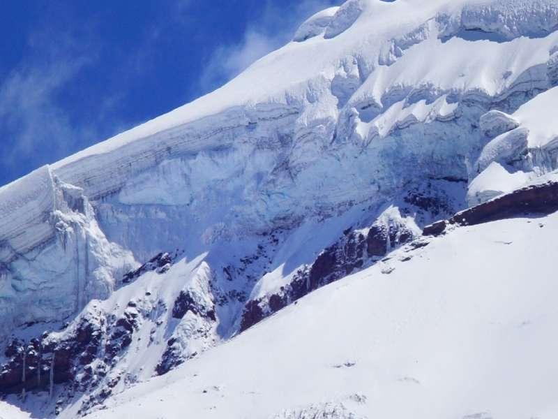 Detail des Chimborazo-Gletschers; Foto: 27.12.2017, Foto: 27.12.2017, Reserva de Producción de Fauna Chimborazo