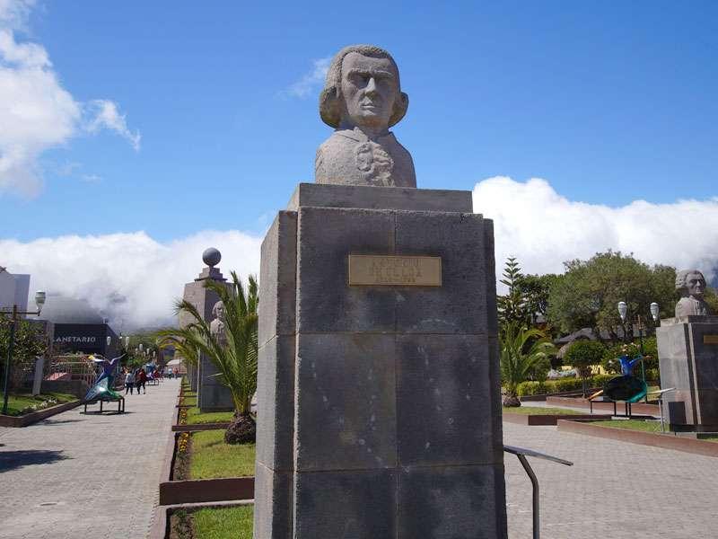 Die Büste des spanischen Admirals Antonio de Ulloa am Äquatordenkmal 'La Mitad del Mundo'; Foto: 23.12.2017, San Antonio de Pichincha