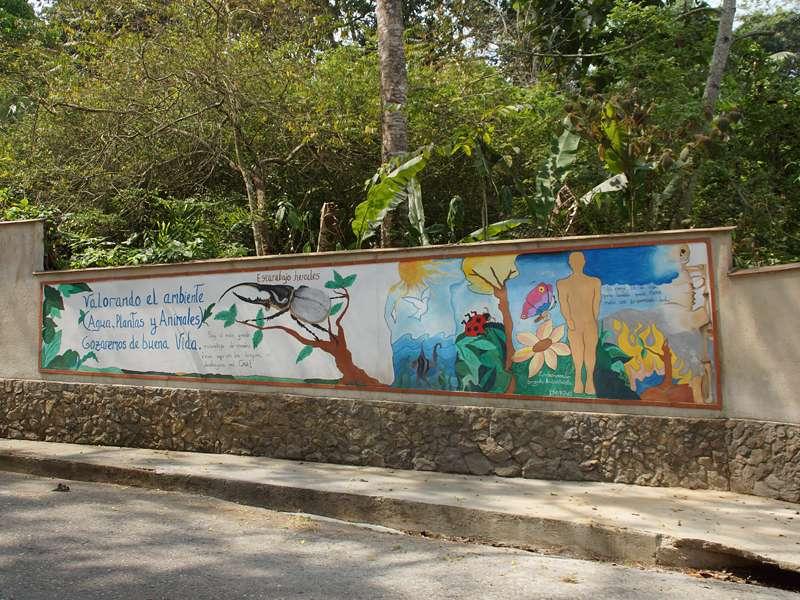 Umweltschutz-Motive zieren die Mauern der Casa Maria; Foto: 16.04.2013, Nähe Bejuma